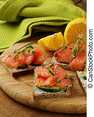 canape sandwiches with salmon