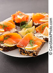 canape with cheese and salmon