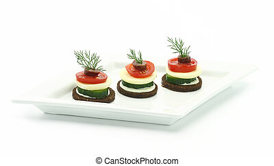 Canape with cheese and vegetables/