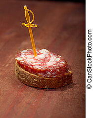 Canape with salami