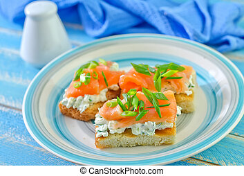 canape with salmon