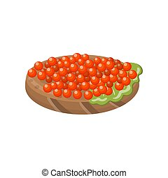 Canape with salmon red caviar cartoon vector Illustration