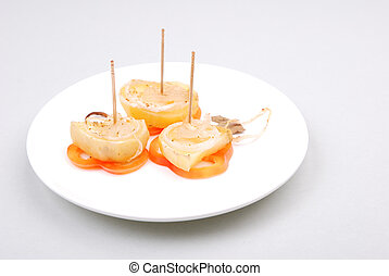 Canape with vegetables and cheese