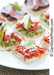 Canapes - Little bite size healthy appetizers with tapanade