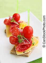 Canapes with cheese and salami - Canapes with cheese, salami...