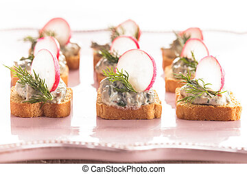 canapes with radish - canapes with cream cheese pasta with...