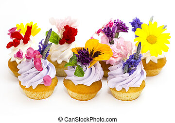 canaps with edible flowers meat cheese and seafood