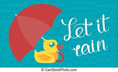 canard caoutchouc, parapluie, sous