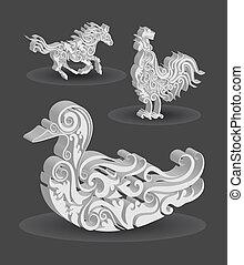 canard, coq, decorations., cheval