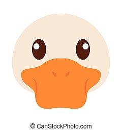 canard, dessin animé, tête