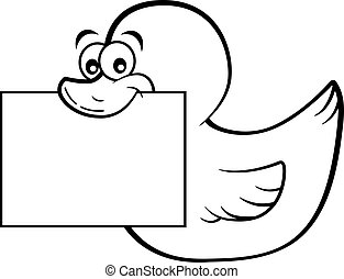 canard, heureux, beak., tenue, signe, sien, dessin animé, ...