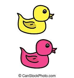 canard, icône, caoutchouc