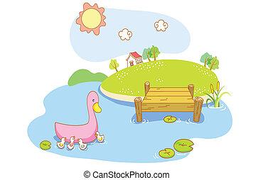 canard, lac, dessin animé