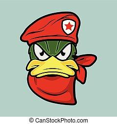 canard, mascotte, commandant