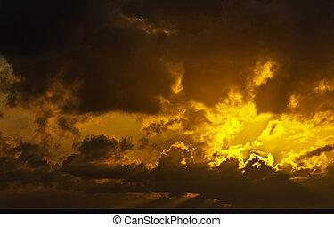 canari, océan atlantique, sur, levers de soleil, lanzarote, îles, -, espagne