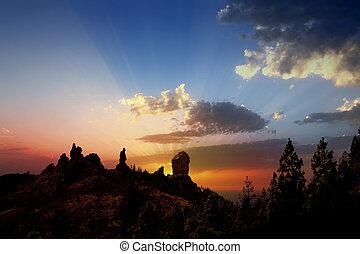 canaria, roque, dramatický, západ slunce, fraile, babička, nublo