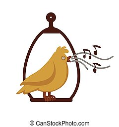 Canary bird singing on pole vector cartoon icon - Canary...