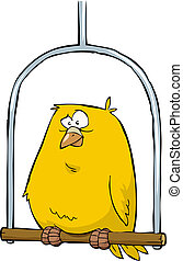Canary - Yellow canary sitting on a pole vector illustration