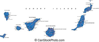 Canary Islands map - Highly detailed vector map of Canary...