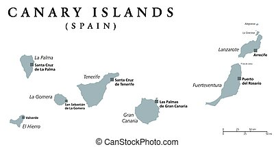 Canary Islands political map with capitals Las Palmas and...