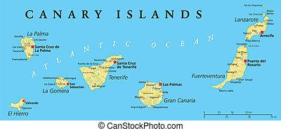 Canary Islands Political Map with Lanzarote, Fuerteventura, Gran Canaria, Tenerife, La Gomera, La Palma and El Hierro. English labeling and scaling. Illustration.