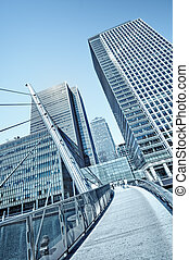 Canary Wharf is a large business and shopping development in East London. Rivalling London's traditional financial centre. This view contains the UK's tallest buildings: One Canada Square (in the centre)235 m(770 ft) above ground level.