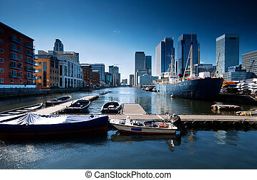 Canary Wharf , London - Skyline of Canary Wharf view from...