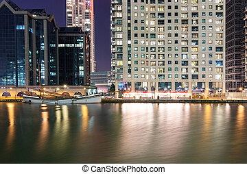 Canary Wharf riverside area at night