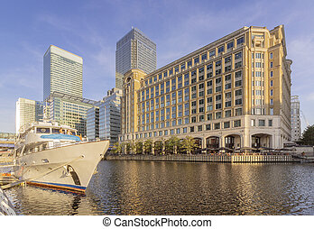Canary wharf riverside inland bay panoramic view, London,...