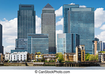 Canary Wharf Skyline - financial district, bank buildings at...