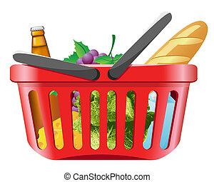 canasta de compras, con, alimentos
