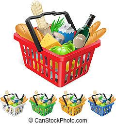 canasta de compras, con, foods.