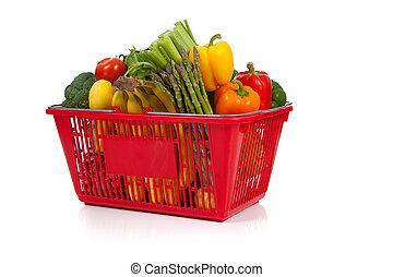 canasta de compras, oveflowing, con, verduras frescas