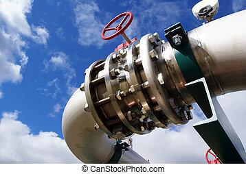 canaux transmission, boulons, valves, contre, ciel bleu