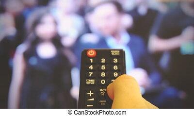 canaux, tv., commutation, homme