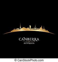 Canberra Australia city silhouette black background