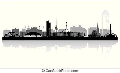 Canberra Australia city skyline silhouette