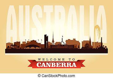 Canberra Australia city skyline vector silhouette