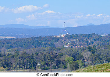 Canberra parliament and the inland forest in Australia