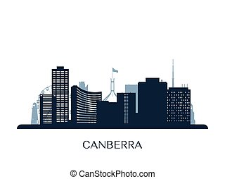 Canberra skyline, monochrome silhouette. Vector illustration.