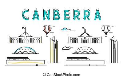 canberra., stad, gezichten, town., australia., australiër, ...