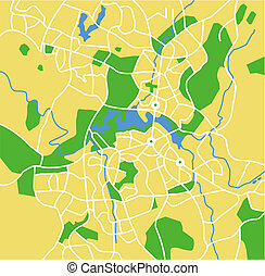 Vector map of Canberra.