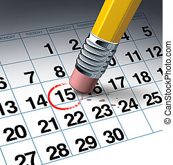 Cancel an appointment and change of schedule business concept with a pencil eraser erasing a highlighted red circle as a symbol of time management by rescheduling.