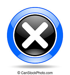 cancel blue and black web glossy round icon