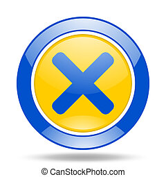 cancel blue and yellow web glossy round icon