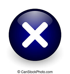 Cancel blue glossy ball web icon on white background. Round 3d render button.