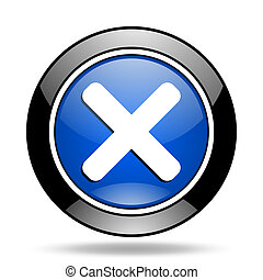 cancel blue glossy icon