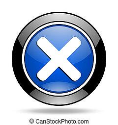cancel blue glossy icon