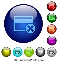 Cancel credit card color glass buttons