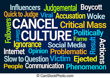 Cancel Culture Word Cloud on Blue Background